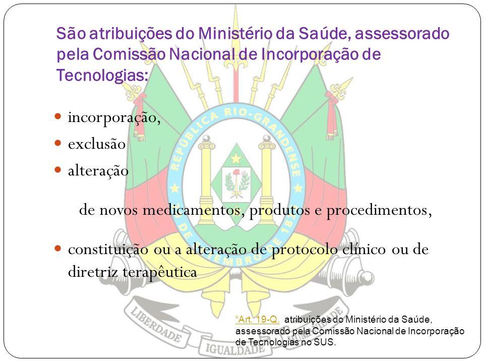 São atribuições do Ministério da Saúde, assessorado pela Comissão Nacional de Incorporação de Tecnologias: incorporação, exclusão alteração de novos m