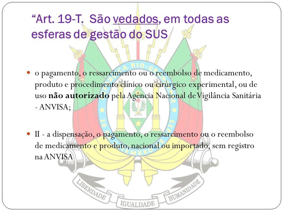 Art. 19-T. São vedados, em todas as esferas de gestão do SUS o pagamento, o ressarcimento ou o reembolso de medicamento, produto e procedimento clínic