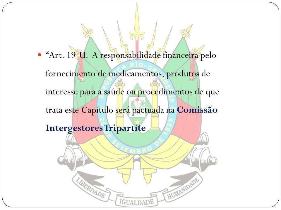 Art. 19-U. A responsabilidade financeira pelo fornecimento de medicamentos, produtos de interesse para a saúde ou procedimentos de que trata este Capí