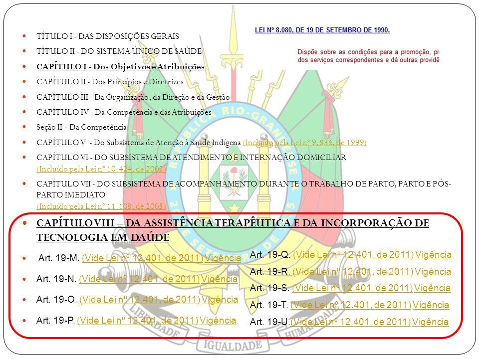 TÍTULO I - DAS DISPOSIÇÕES GERAIS TÍTULO II - DO SISTEMA ÚNICO DE SAÚDE CAPÍTULO I - Dos Objetivos e Atribuições CAPÍTULO II - Dos Princípios e Diretr