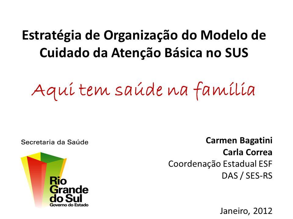 Estratégia de Organização do Modelo de Cuidado da Atenção Básica no SUS Aqui tem saúde na família Carmen Bagatini Carla Correa Coordenação Estadual ES