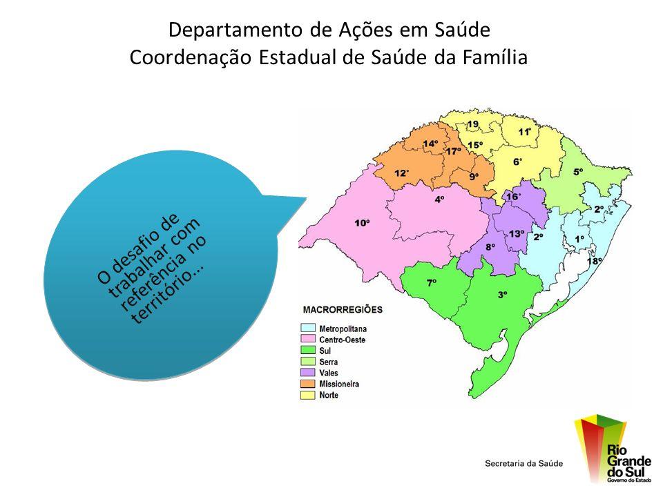 Rio Grande do Sul População: 10.845.087 hab Área Territorial: 282.674 Km² Nº de Municípios: 497 Nº de Regionais de Saúde: 19 Nº de Macro-regiões: 07 45% dos municípios < 5.000 habitantes.