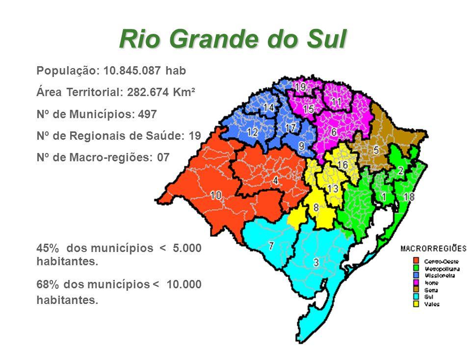 Rio Grande do Sul População: 10.845.087 hab Área Territorial: 282.674 Km² Nº de Municípios: 497 Nº de Regionais de Saúde: 19 Nº de Macro-regiões: 07 4