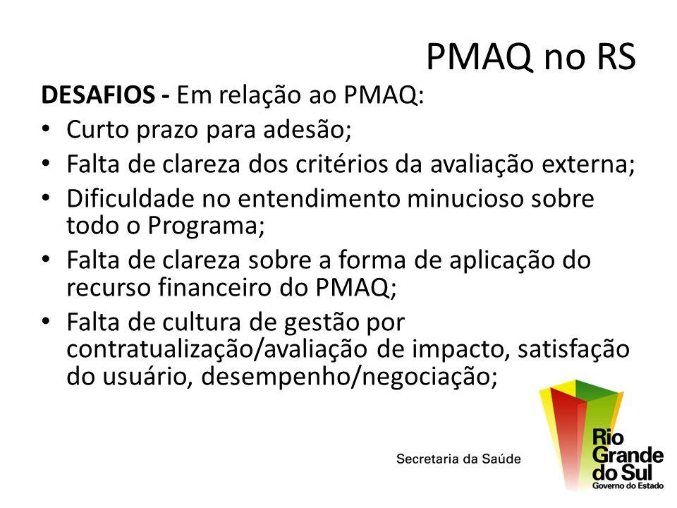 PMAQ no RS DESAFIOS - Em relação ao PMAQ: Curto prazo para adesão; Falta de clareza dos critérios da avaliação externa; Dificuldade no entendimento mi