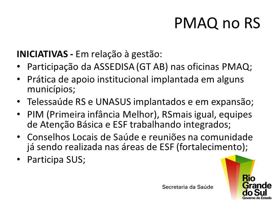 PMAQ no RS INICIATIVAS - Em relação à gestão: Participação da ASSEDISA (GT AB) nas oficinas PMAQ; Prática de apoio institucional implantada em alguns
