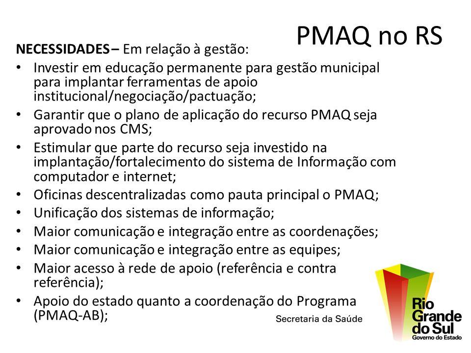 PMAQ no RS NECESSIDADES – Em relação à gestão: Investir em educação permanente para gestão municipal para implantar ferramentas de apoio institucional