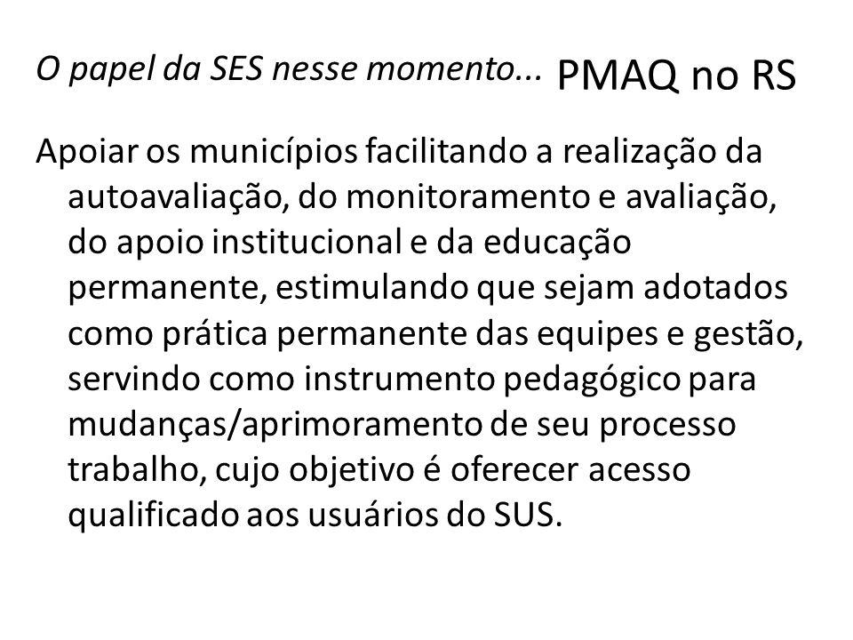 O papel da SES nesse momento... Apoiar os municípios facilitando a realização da autoavaliação, do monitoramento e avaliação, do apoio institucional e