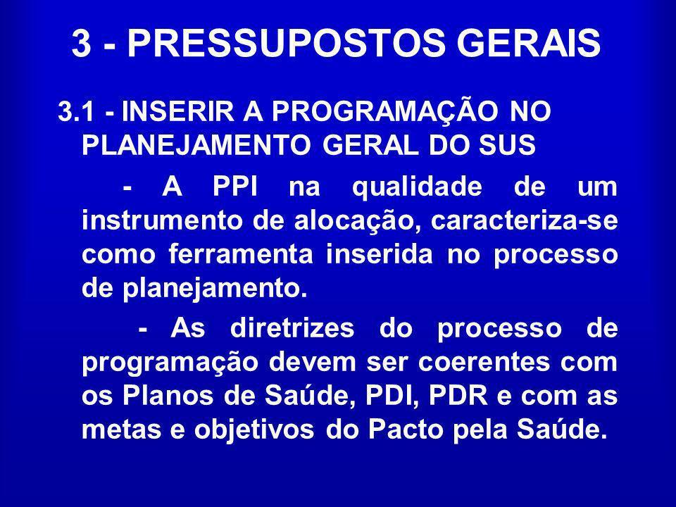 3 - PRESSUPOSTOS GERAIS 3.1 - INSERIR A PROGRAMAÇÃO NO PLANEJAMENTO GERAL DO SUS - A PPI na qualidade de um instrumento de alocação, caracteriza-se co