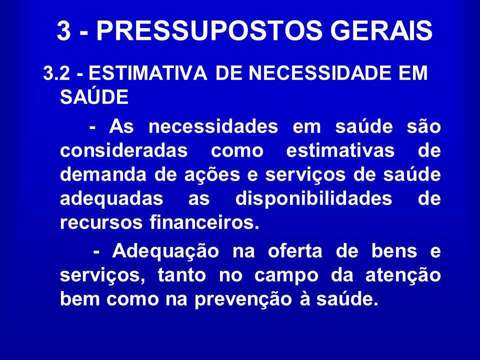 3 - PRESSUPOSTOS GERAIS 3.2 - ESTIMATIVA DE NECESSIDADE EM SAÚDE - As necessidades em saúde são consideradas como estimativas de demanda de ações e se