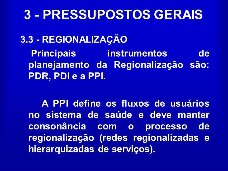 3 - PRESSUPOSTOS GERAIS 3.3 - REGIONALIZAÇÃO Principais instrumentos de planejamento da Regionalização são: PDR, PDI e a PPI. A PPI define os fluxos d