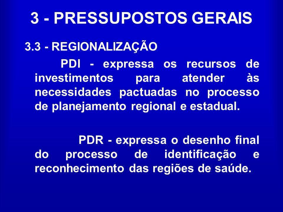 3 - PRESSUPOSTOS GERAIS 3.3 - REGIONALIZAÇÃO PDI - expressa os recursos de investimentos para atender às necessidades pactuadas no processo de planeja