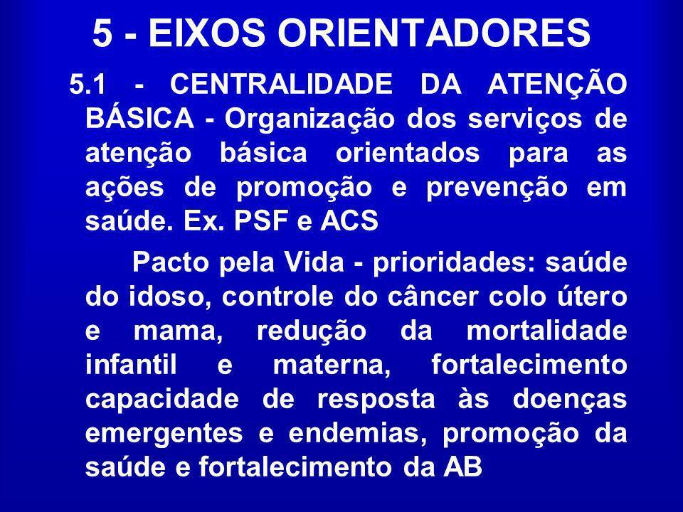 5 - EIXOS ORIENTADORES 5.1 - CENTRALIDADE DA ATENÇÃO BÁSICA - Organização dos serviços de atenção básica orientados para as ações de promoção e preven