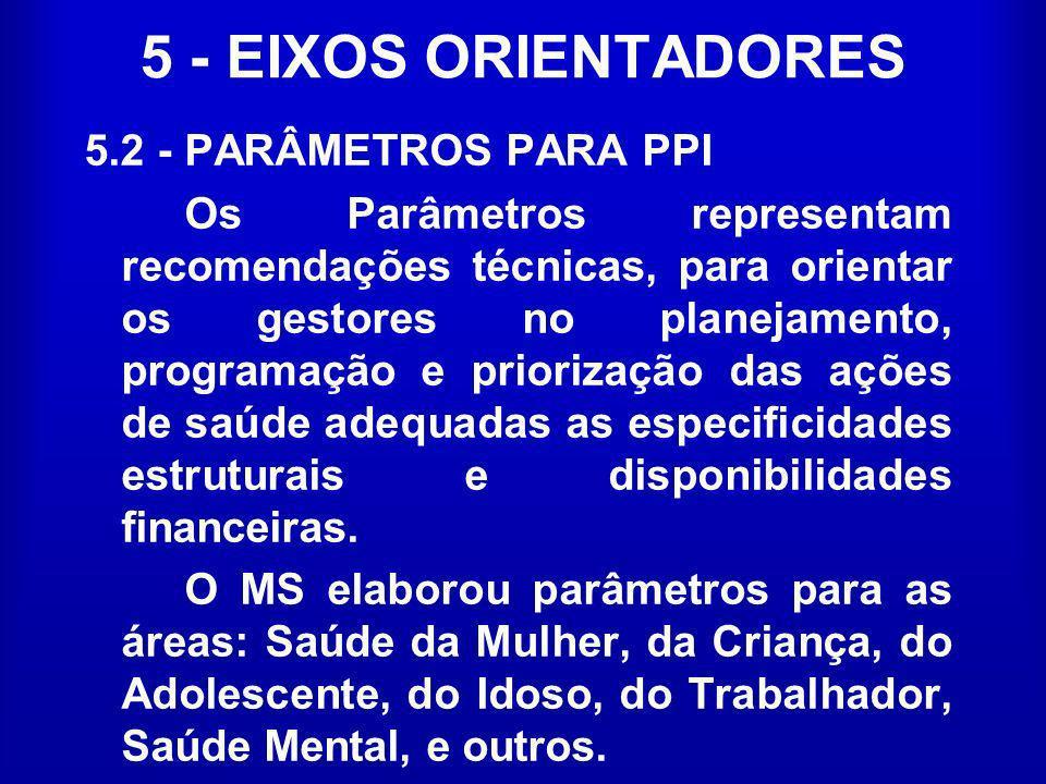 5 - EIXOS ORIENTADORES 5.2 - PARÂMETROS PARA PPI Os Parâmetros representam recomendações técnicas, para orientar os gestores no planejamento, programa
