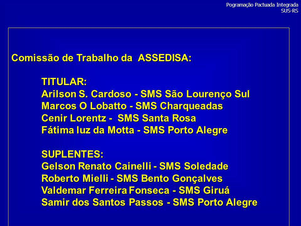 Comissão de Trabalho da ASSEDISA: TITULAR: Arilson S. Cardoso - SMS São Lourenço Sul Marcos O Lobatto - SMS Charqueadas Cenir Lorentz - SMS Santa Rosa