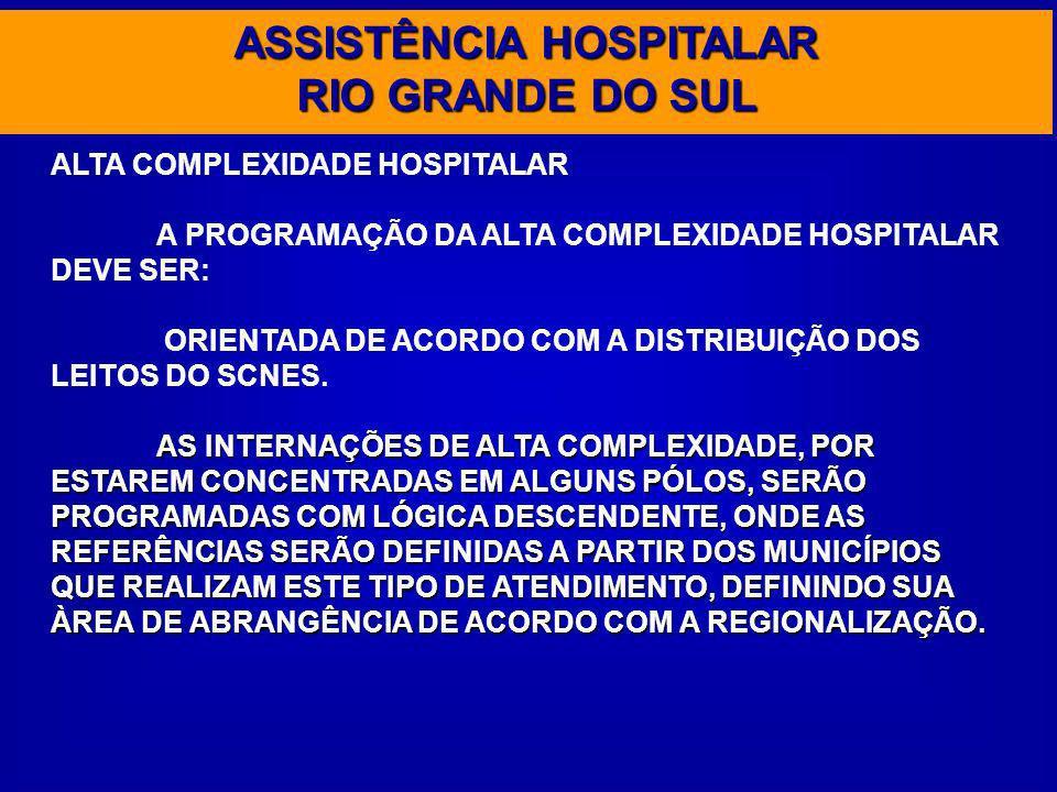 ASSISTÊNCIA HOSPITALAR RIO GRANDE DO SUL ALTA COMPLEXIDADE HOSPITALAR A PROGRAMAÇÃO DA ALTA COMPLEXIDADE HOSPITALAR DEVE SER: ORIENTADA DE ACORDO COM