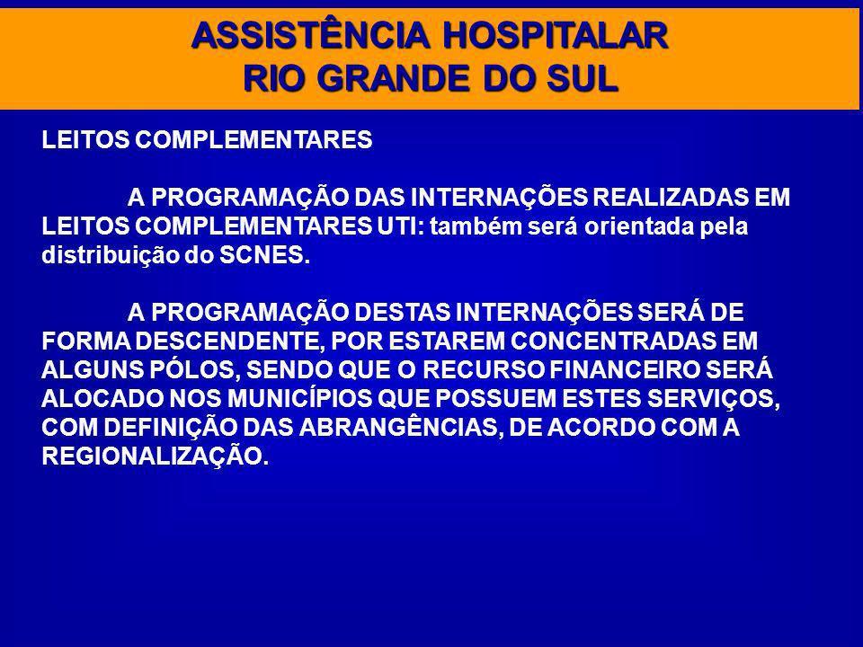 ASSISTÊNCIA HOSPITALAR RIO GRANDE DO SUL LEITOS COMPLEMENTARES A PROGRAMAÇÃO DAS INTERNAÇÕES REALIZADAS EM LEITOS COMPLEMENTARES UTI: também será orie