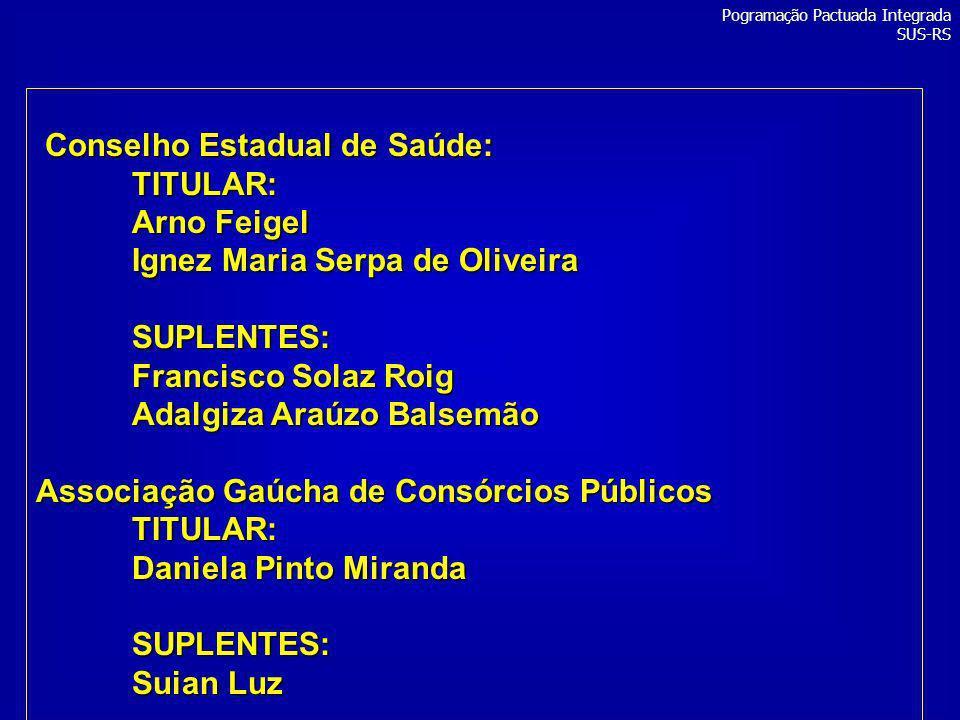 Conselho Estadual de Saúde: Conselho Estadual de Saúde:TITULAR: Arno Feigel Ignez Maria Serpa de Oliveira SUPLENTES: Francisco Solaz Roig Adalgiza Ara