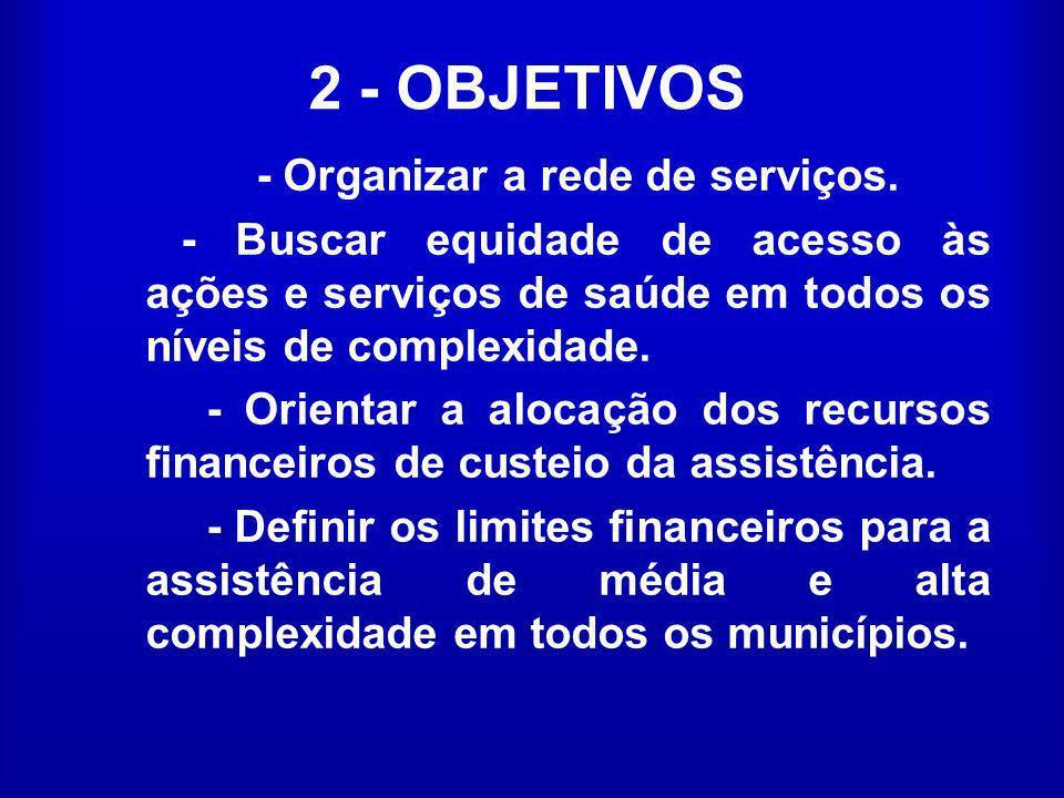 2 - OBJETIVOS - Organizar a rede de serviços. - Buscar equidade de acesso às ações e serviços de saúde em todos os níveis de complexidade. - Orientar