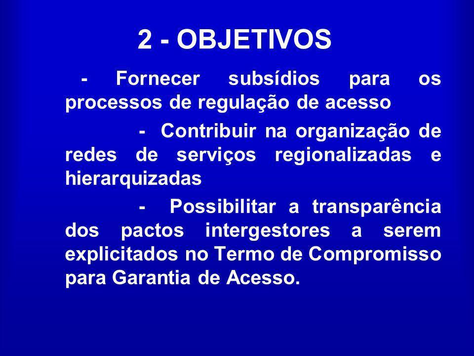 2 - OBJETIVOS - Fornecer subsídios para os processos de regulação de acesso - Contribuir na organização de redes de serviços regionalizadas e hierarqu