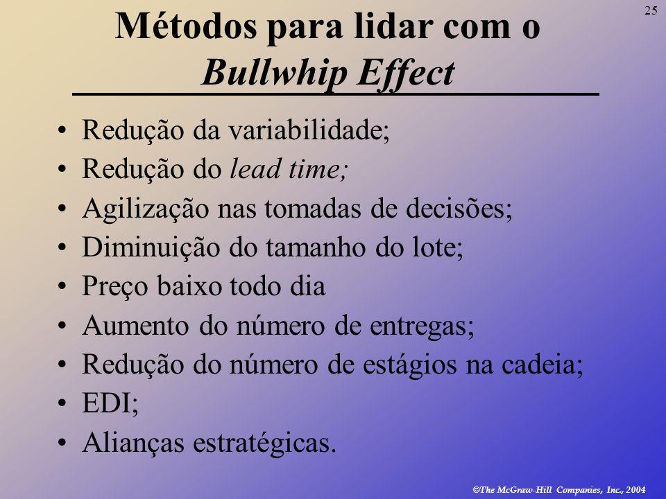 25 © The McGraw-Hill Companies, Inc., 2004 Métodos para lidar com o Bullwhip Effect Redução da variabilidade; Redução do lead time; Agilização nas tom