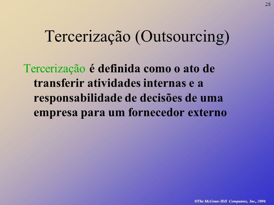 28 © The McGraw-Hill Companies, Inc., 2004 Tercerização (Outsourcing) Tercerização é definida como o ato de transferir atividades internas e a respons