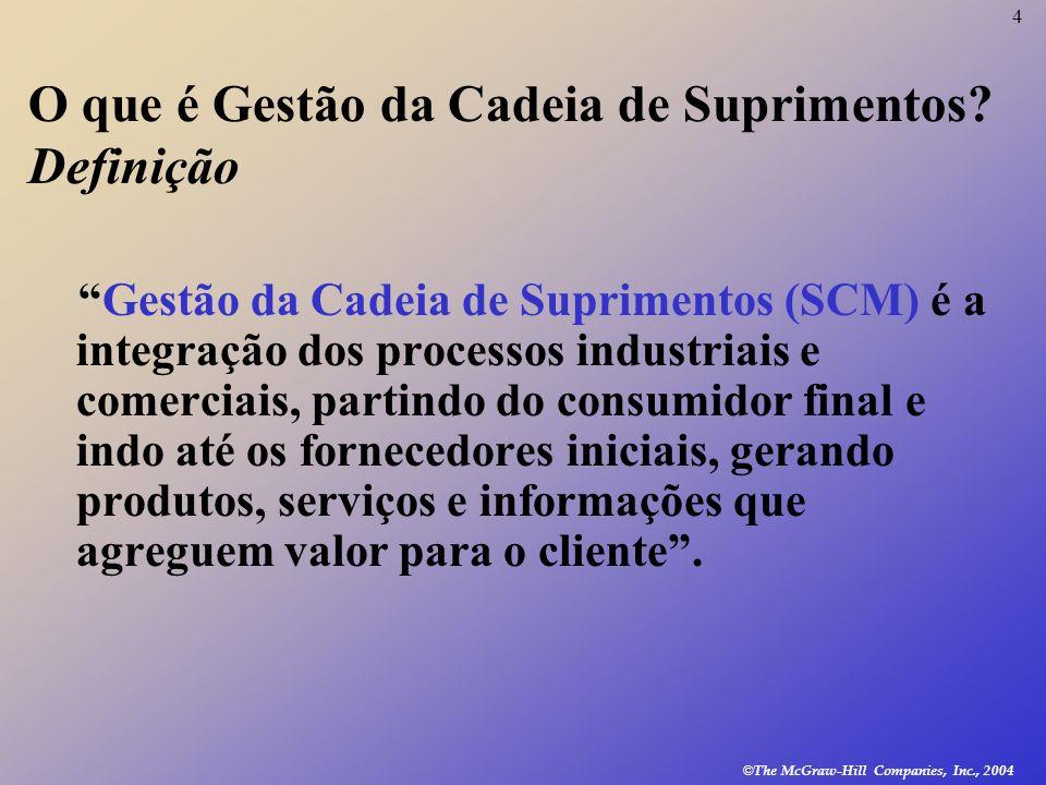 4 © The McGraw-Hill Companies, Inc., 2004 O que é Gestão da Cadeia de Suprimentos? Definição Gestão da Cadeia de Suprimentos (SCM) é a integração dos