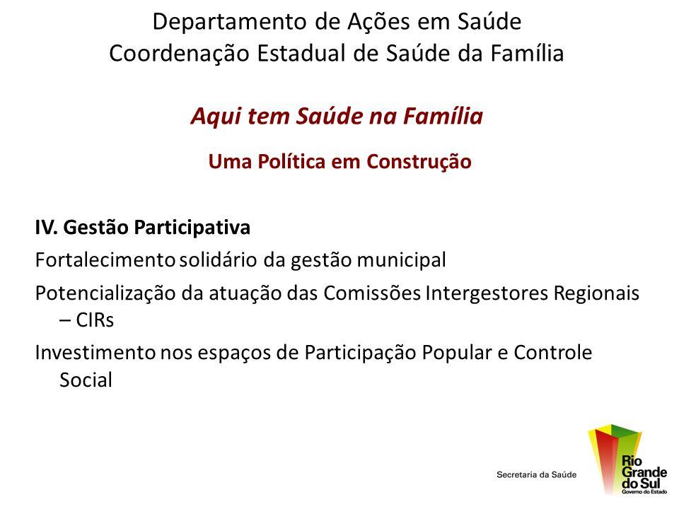 Departamento de Ações em Saúde Coordenação Estadual de Saúde da Família Aqui tem Saúde na Família Uma Política em Construção IV. Gestão Participativa