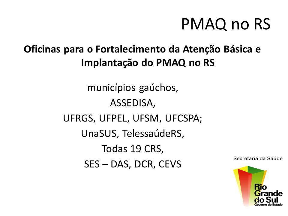 PMAQ no RS Oficinas para o Fortalecimento da Atenção Básica e Implantação do PMAQ no RS municípios gaúchos, ASSEDISA, UFRGS, UFPEL, UFSM, UFCSPA; UnaS