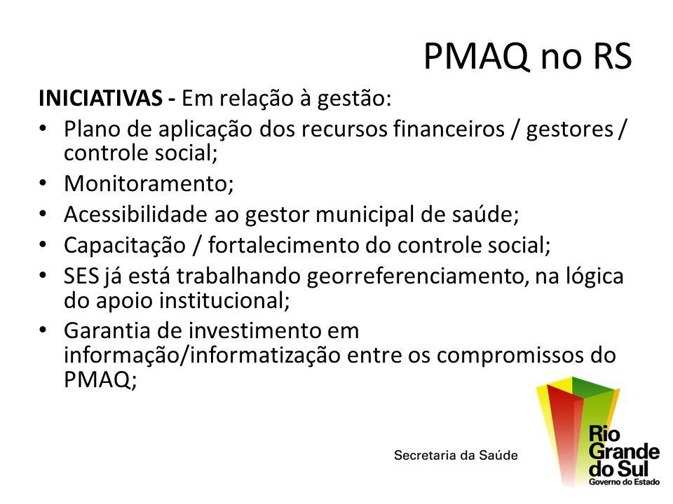 PMAQ no RS INICIATIVAS - Em relação à gestão: Plano de aplicação dos recursos financeiros / gestores / controle social; Monitoramento; Acessibilidade