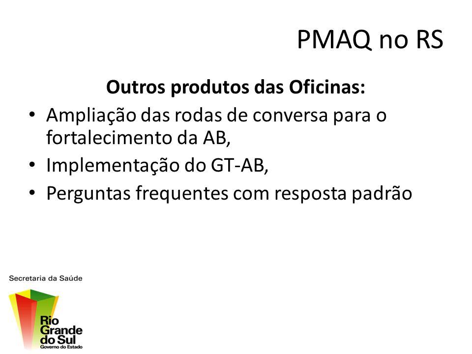 PMAQ no RS Outros produtos das Oficinas: Ampliação das rodas de conversa para o fortalecimento da AB, Implementação do GT-AB, Perguntas frequentes com