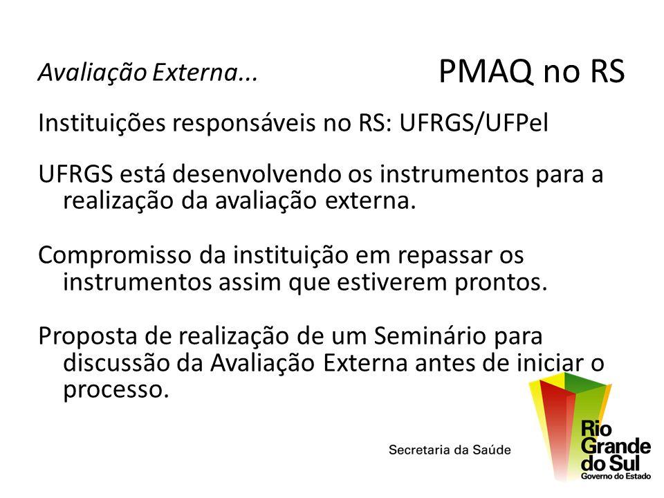 Avaliação Externa... Instituições responsáveis no RS: UFRGS/UFPel UFRGS está desenvolvendo os instrumentos para a realização da avaliação externa. Com