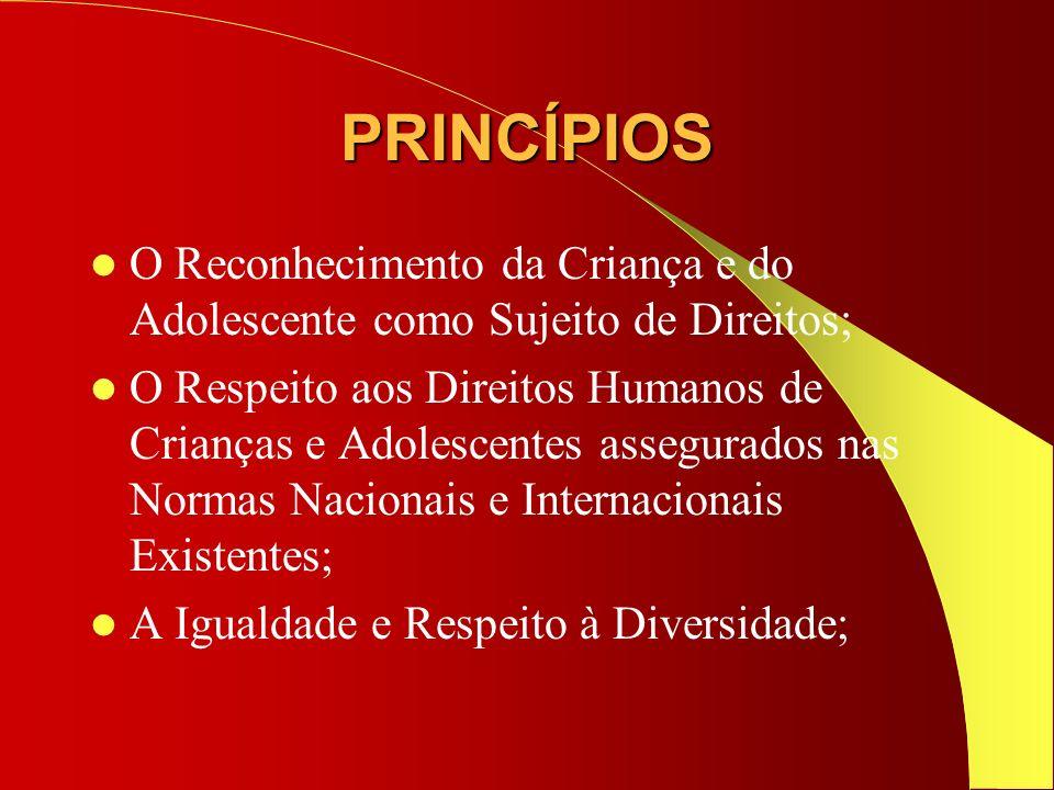 PRINCÍPIOS O Reconhecimento da Criança e do Adolescente como Sujeito de Direitos; O Respeito aos Direitos Humanos de Crianças e Adolescentes assegurad