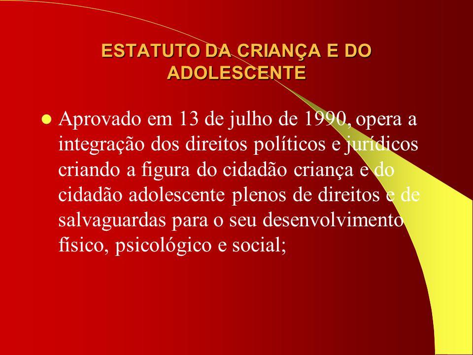 1990 Convenção internacional sobre os direitos da criança(ONU) – marco da consagração da doutrina da proteção integral e de prioridade absoluta aos direitos da criança.