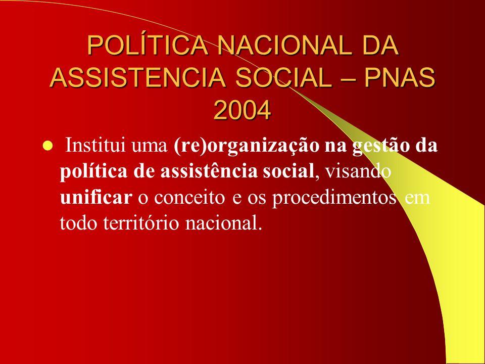 POLÍTICA NACIONAL DA ASSISTENCIA SOCIAL – PNAS 2004 Institui uma (re)organização na gestão da política de assistência social, visando unificar o conce
