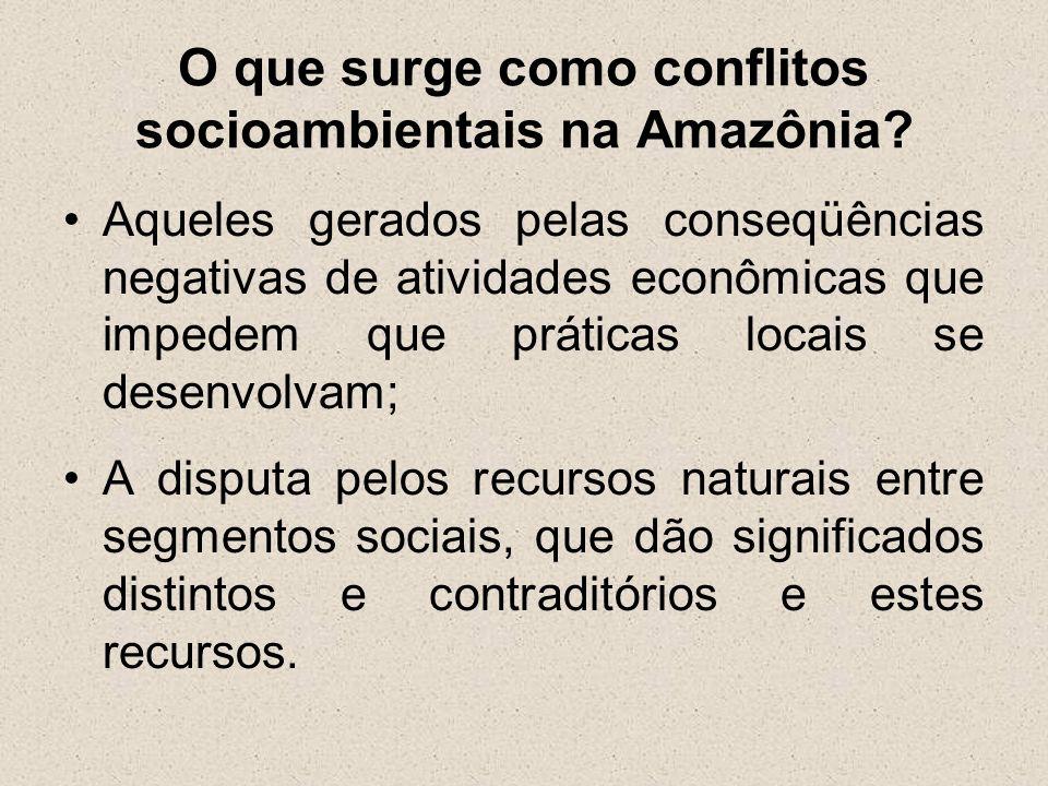 O que surge como conflitos socioambientais na Amazônia? Aqueles gerados pelas conseqüências negativas de atividades econômicas que impedem que prática