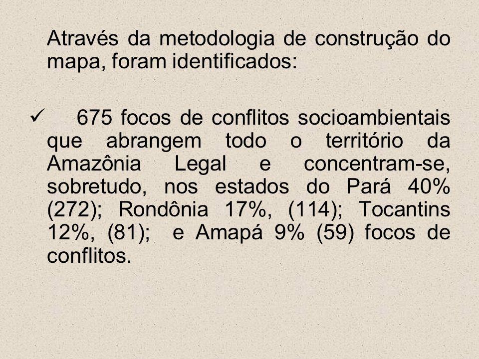 Através da metodologia de construção do mapa, foram identificados: 675 focos de conflitos socioambientais que abrangem todo o território da Amazônia L