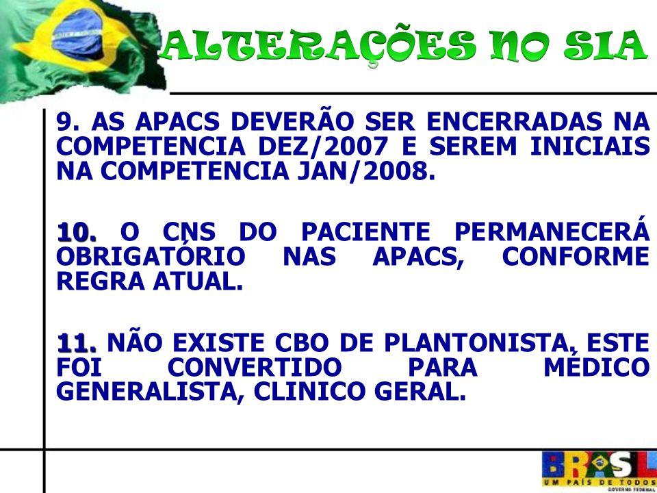 9. AS APACS DEVERÃO SER ENCERRADAS NA COMPETENCIA DEZ/2007 E SEREM INICIAIS NA COMPETENCIA JAN/2008. 10. 10. O CNS DO PACIENTE PERMANECERÁ OBRIGATÓRIO