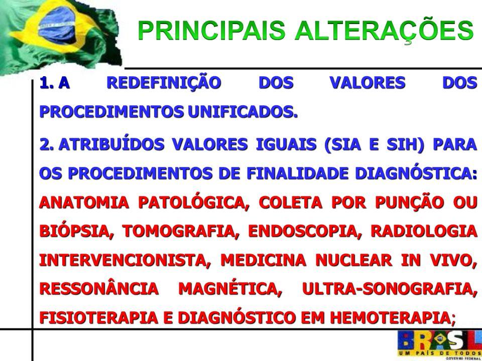 1. A REDEFINIÇÃO DOS VALORES DOS PROCEDIMENTOS UNIFICADOS. 2. ATRIBUÍDOS VALORES IGUAIS (SIA E SIH) PARA OS PROCEDIMENTOS DE FINALIDADE DIAGNÓSTICA: A
