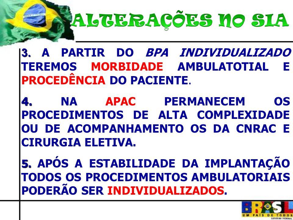 3. 3. A PARTIR DO BPA INDIVIDUALIZADO TEREMOS MORBIDADE AMBULATOTIAL E PROCEDÊNCIA DO PACIENTE. 4. 4. NA APAC PERMANECEM OS PROCEDIMENTOS DE ALTA COMP