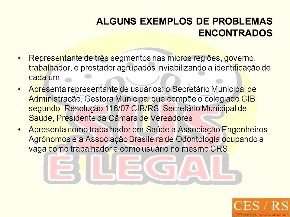 ALGUNS EXEMPLOS DE PROBLEMAS ENCONTRADOS Representante de três segmentos nas micros regiões, governo, trabalhador, e prestador agrupados inviabilizando a identificação de cada um.