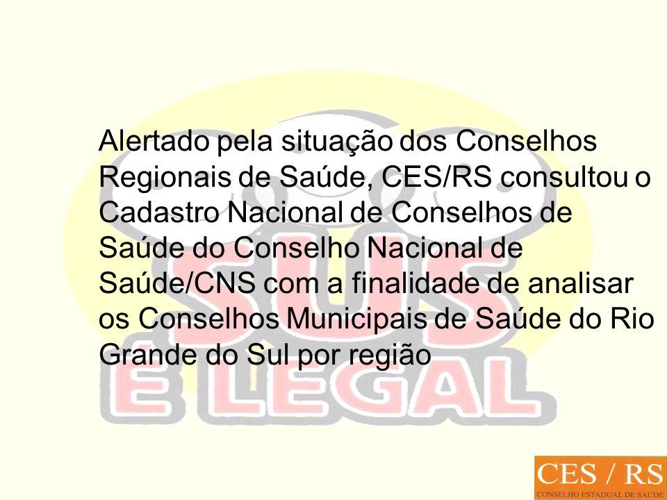 Alertado pela situação dos Conselhos Regionais de Saúde, CES/RS consultou o Cadastro Nacional de Conselhos de Saúde do Conselho Nacional de Saúde/CNS com a finalidade de analisar os Conselhos Municipais de Saúde do Rio Grande do Sul por região