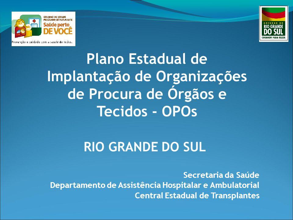 Secretaria da Saúde Departamento de Assistência Hospitalar e Ambulatorial Central Estadual de Transplantes Plano Estadual de Implantação de Organizaçõ