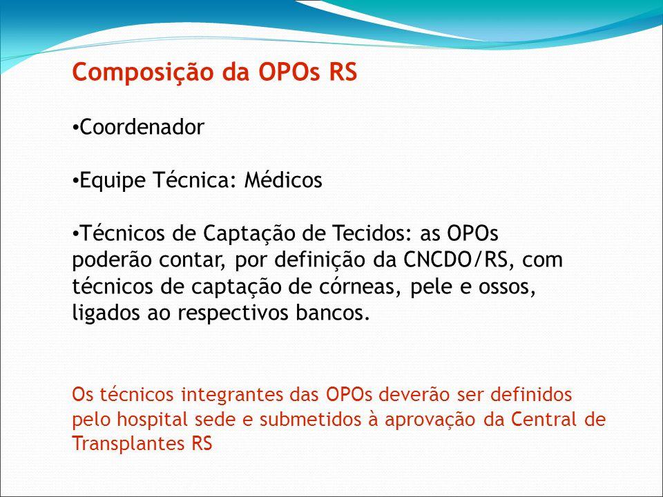 Composição da OPOs RS Coordenador Equipe Técnica: Médicos Técnicos de Captação de Tecidos: as OPOs poderão contar, por definição da CNCDO/RS, com técn