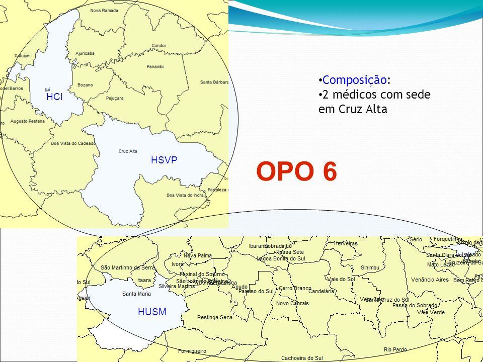 OPO 6 HCI HSVP Composição: 2 médicos com sede em Cruz Alta HUSM
