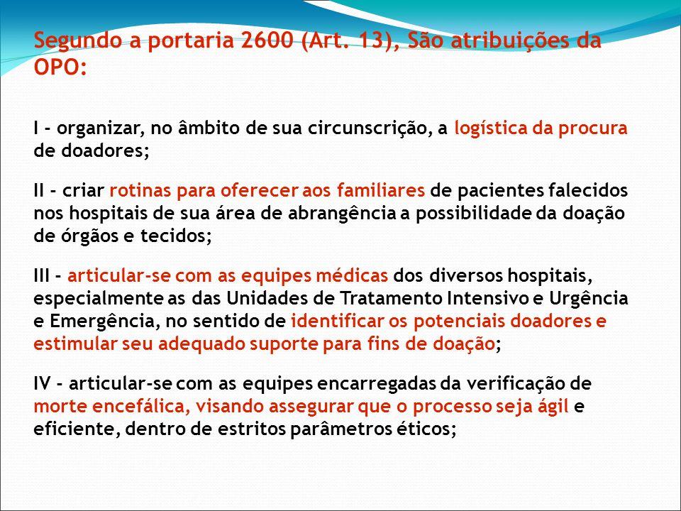 Segundo a portaria 2600 (Art. 13), São atribuições da OPO: I - organizar, no âmbito de sua circunscrição, a logística da procura de doadores; II - cri