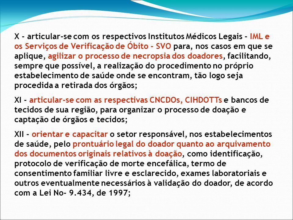 X - articular-se com os respectivos Institutos Médicos Legais - IML e os Serviços de Verificação de Óbito - SVO para, nos casos em que se aplique, agi