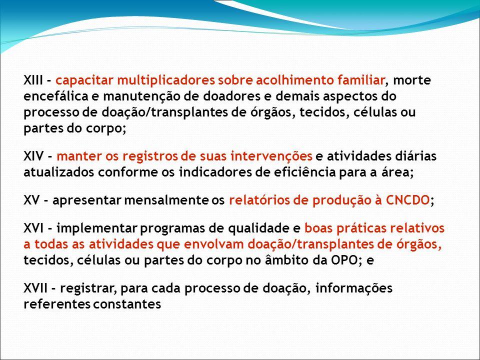 XIII - capacitar multiplicadores sobre acolhimento familiar, morte encefálica e manutenção de doadores e demais aspectos do processo de doação/transpl