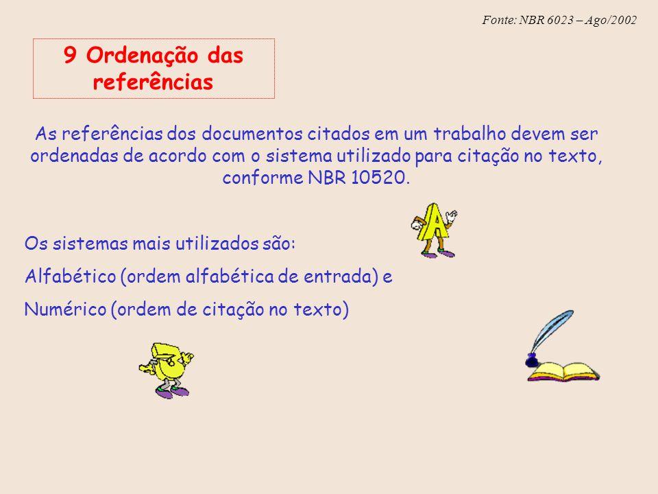 Fonte: NBR 6023 – Ago/2002 As referências dos documentos citados em um trabalho devem ser ordenadas de acordo com o sistema utilizado para citação no