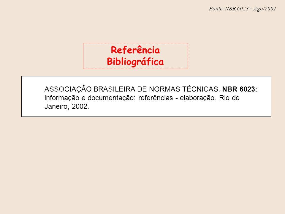Fonte: NBR 6023 – Ago/2002 ASSOCIAÇÃO BRASILEIRA DE NORMAS TÉCNICAS. NBR 6023: informação e documentação: referências - elaboração. Rio de Janeiro, 20