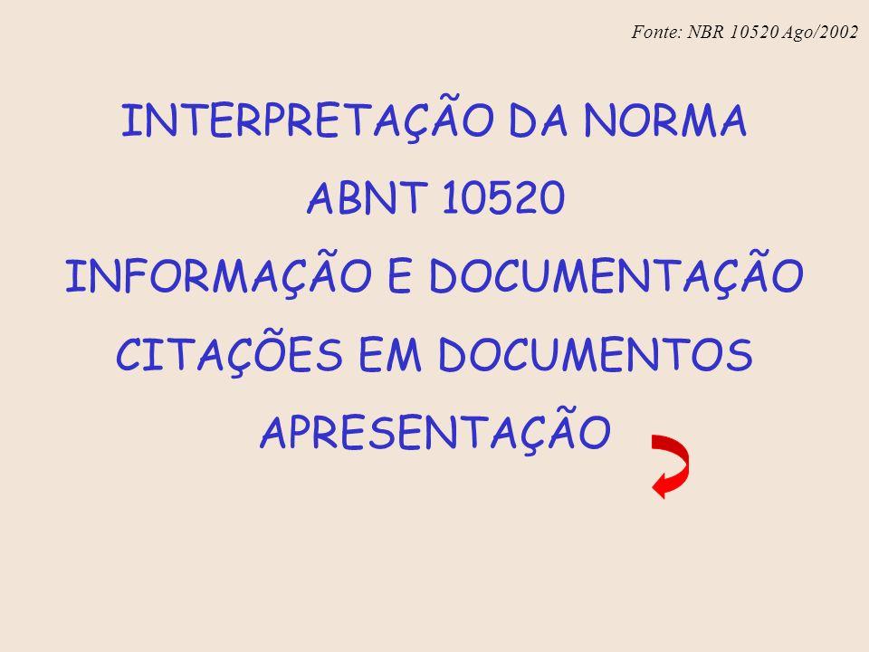 Fonte: NBR 6023 – Ago/2002 INTERPRETAÇÃO DA NORMA ABNT 10520 INFORMAÇÃO E DOCUMENTAÇÃO CITAÇÕES EM DOCUMENTOS APRESENTAÇÃO Fonte: NBR 10520 Ago/2002